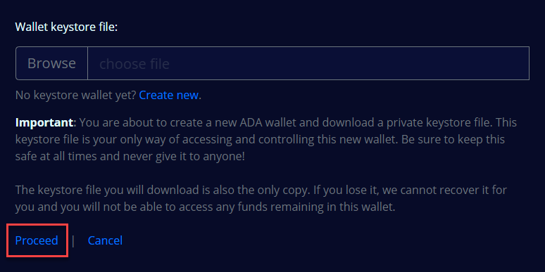 Proceed to create new keystore wallet