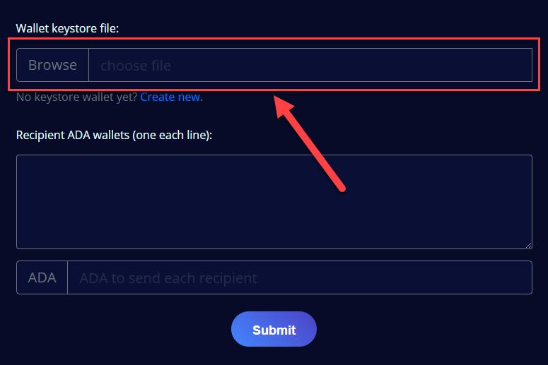 Select keystore file