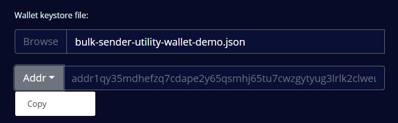 Copy wallet address